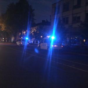 Polisbilar på Mannerheimgatan i Borgå