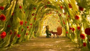 Den lille prinsen och räven i en gång av rosenbuskar.