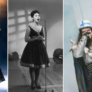 Virve Rosti (1987), Laila Kinnunen (1961) ja Mr. Lordi (2006).