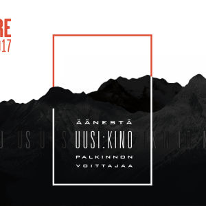 Graafinen kuva, jossa mustat vuoret ja teksti äänestä Uusi Kino -palkinnon voittajaa.