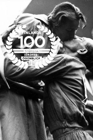 Emil Zatopek och frun Dana Zatopeka, OS 1952, med logon för Finlands 100 största idrottsögonblick.