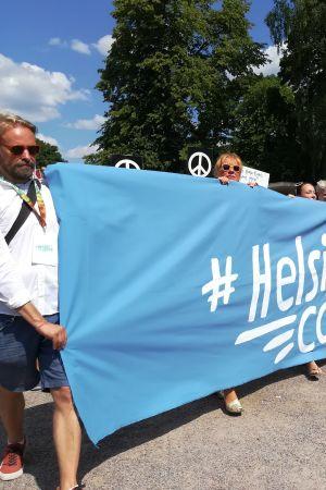 Demonstration för mänskliga rättigheter inför Trump och Putins möte i Helsingfors.