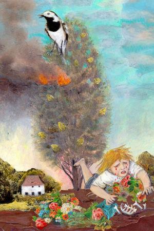 Anna Höglunds illustration till sagan Eneträdet, avbildad i Andréa Räders biografi om bröderna Grimm. 2016.