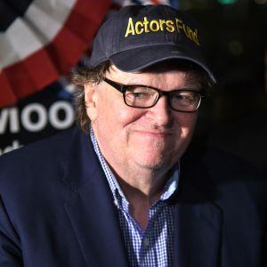 """Michael Moore på efterfesten efter hans show """"The Terms Of My Surrender"""" på Broadway den 11 augusti 2017."""