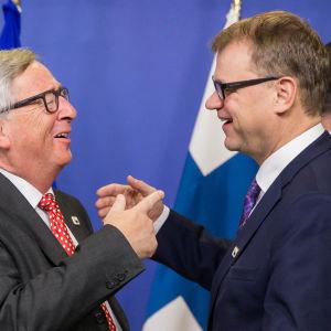 EU-kommissionens ordförande Jean-Claude Juncker och statsminister Juha Sipilä.
