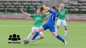 EIF:s Janina Broman försöker nå bollen före en JäPS-spelare.
