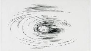 Liisa Ihmemaassa kyynellammen pyörteessä, Tove Janssonin piirros.