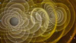 Illustration av kolliderande svarta hål.