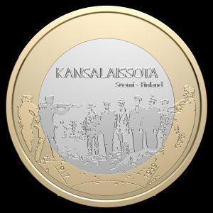 Jubileumsmynt präglat av myntverket i Finland.