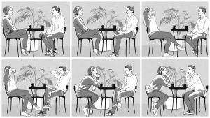 Piirroskuvasarja kahvilapöydän ääressä istuvasta parista
