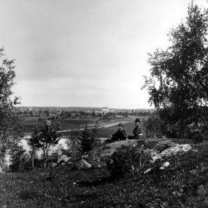 I. K. Inhan valokuvassa maisema Tosarkylän kallioilta peltojen yli Kastelholman linnan raunioita päin Ahvenanmaalla