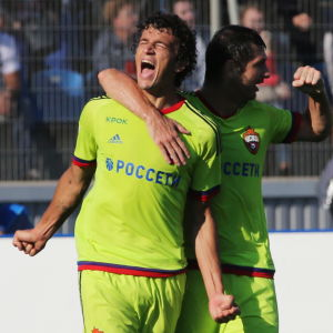 Roman Eremenko jublar över mål, CSKA Moskva-Zenit S:t Petersburg, augusti 2016.
