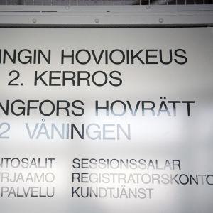 Skylt där det står Helsingfors hovrätt.