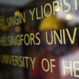 Skylt vid Helsingfors universitet.