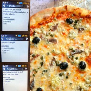 Bildmontage, pizza och textmeddelanden.