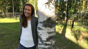 Ida Kronholm vid en björk.