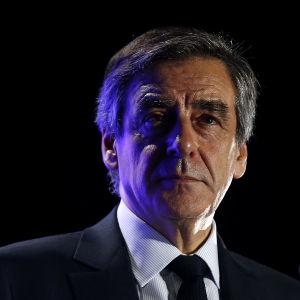 François Fillon under ett kampanjmöte den 2 mars 2017