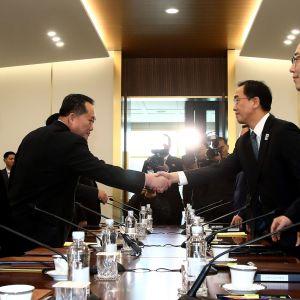 Sydkoreas återföreningsminister Cho Myoung-Gyon (andra från höger) och hans nordkoreanske kollega Ri Son-Gwon skakade hand då mötet i Panmunjom inleddes.