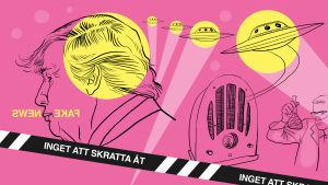 """Illustration för del 6 i serien """"Inget att skratta åt"""", podcast, Yle Vega"""