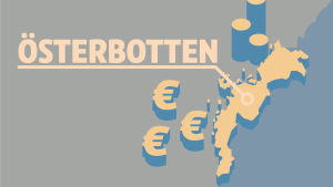 Karta över landskapet Ösetbotten och eurosymboler