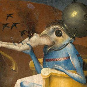 Lintupäinen hirviö. Yksityiskohta Boschin teoksesta Maallisten ilojen puutarha