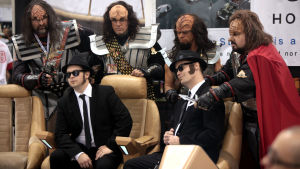 Klingon and Blues Brothers cosplayers at the 2016 Phoenix Comicon at the Phoenix Convention Center in Phoenix, Arizona.
