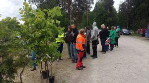 Föräldrar köar för att få plantera personliga träd i Nickby.