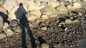 Lukevan ihmisen varjo rannalla.