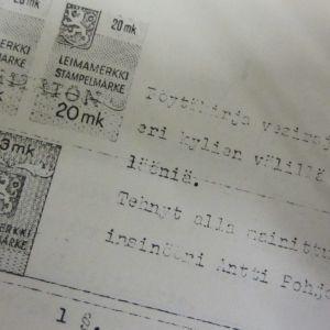 Vesipiirirajankäyntitoimituksen pöytäkirjan alkusivusta osa.