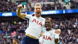Harry Kane och Serge Aurier firar Tottenhams mål.