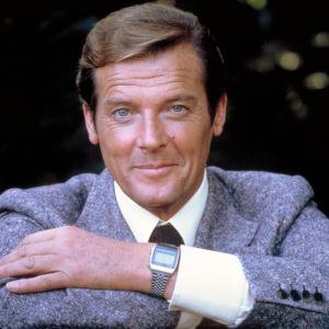 Skådespelaren Roger Moore i James Bond-filmen Moonraker.