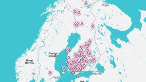 Kuva kartasta missä Hulahulasuomen tapahtumat näkyvät.
