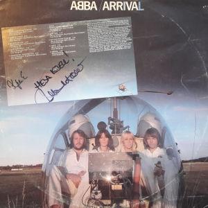 Abba på konvolutet till albumet Arrival med dedikation av deras hovtekniker Michael B. Tretow