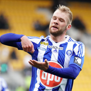 João Klauss De Mello firar mål för HJK, 2018.
