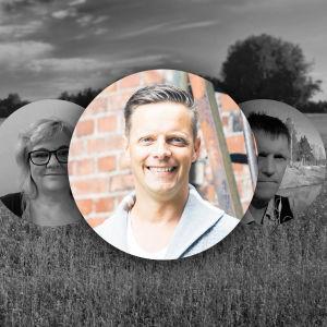 Johan Åminne är lyssnarnas sommarpratare 2018. Åminne i färg och de andra kandidaterna i svartvitt i bakgrunden.