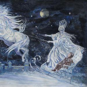 Målning föreställande en scen ur H.C. Andersens saga Snödrottningen.