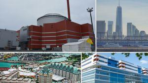 Kollage, Olkiluoto-3, 1WTC, Resorts World Sentoro, Nya Karolinska