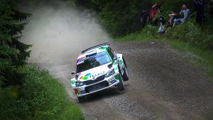 En rallybil kommer i hög fart i en kurva.