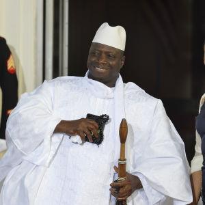 President Yahya Jammeh med sin hustru Zineb Jammeh under ett besök i Vita Huset i augusti 2014