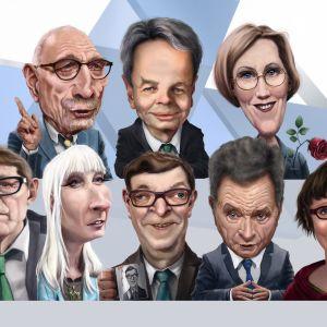 Karikatyr av alla presidentvalskandidater 2018.