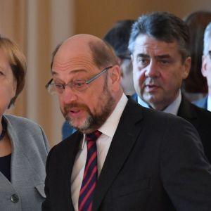 Angela Merkel, Martin Schulz, Sigmar Gabriel och Thomas de Maiziere 9.1.2018.