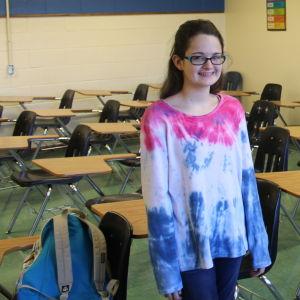 Madeleine Russell i ett klassrum i den katolska skolan Roncalli High School i Indianapolis.