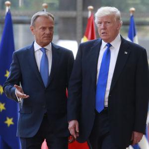 Europeiska rådets ordförande Donald Tusk och USa:s president Donald Trump
