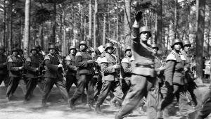Den frivilliga bataljonens defilering. Fotograferat av militärtjänsteman Esko Suomela i Hangö 2.6 1943.