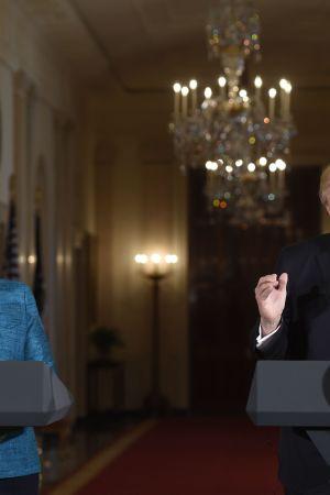 Tysklands förbundskansler Angela Merkel och USA:s president Donald Trump i Washington den 17 mars 2017.