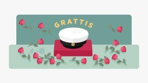 Illustration av en studentmössa och rosor. Text: Grattis.