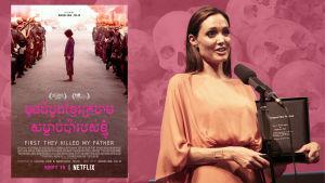 Fotokollage med Angelina Jolie och dödskallar i Kambodja