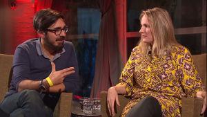 Författarna Adrian Perera och Sara Razai på Yle Fems litteraturfest