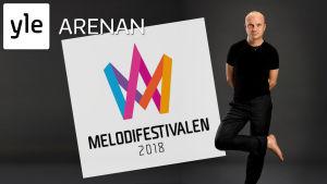 Jonas Gardell samt logon för Melodifestivalen 2018 och Yle Arenan
