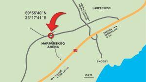 Koordinaterna för Harparskog Arena